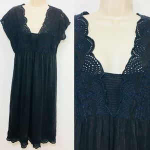 Johnny Was eyelet Embroidered Black midi dress S